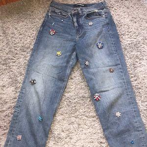 High rise girlfriend jeans